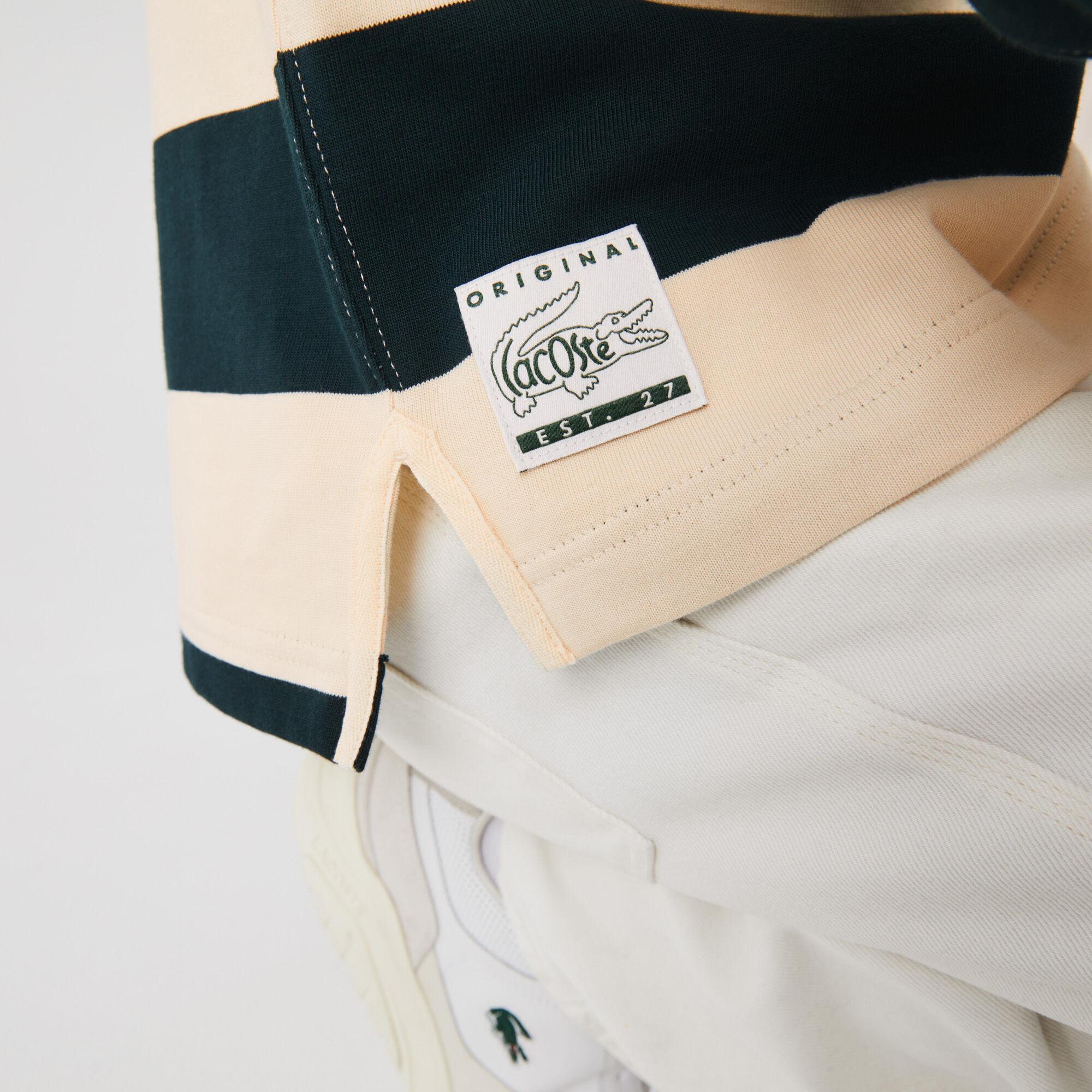 قميص بولو قطن مقلم للرجال تصميم الرجبي