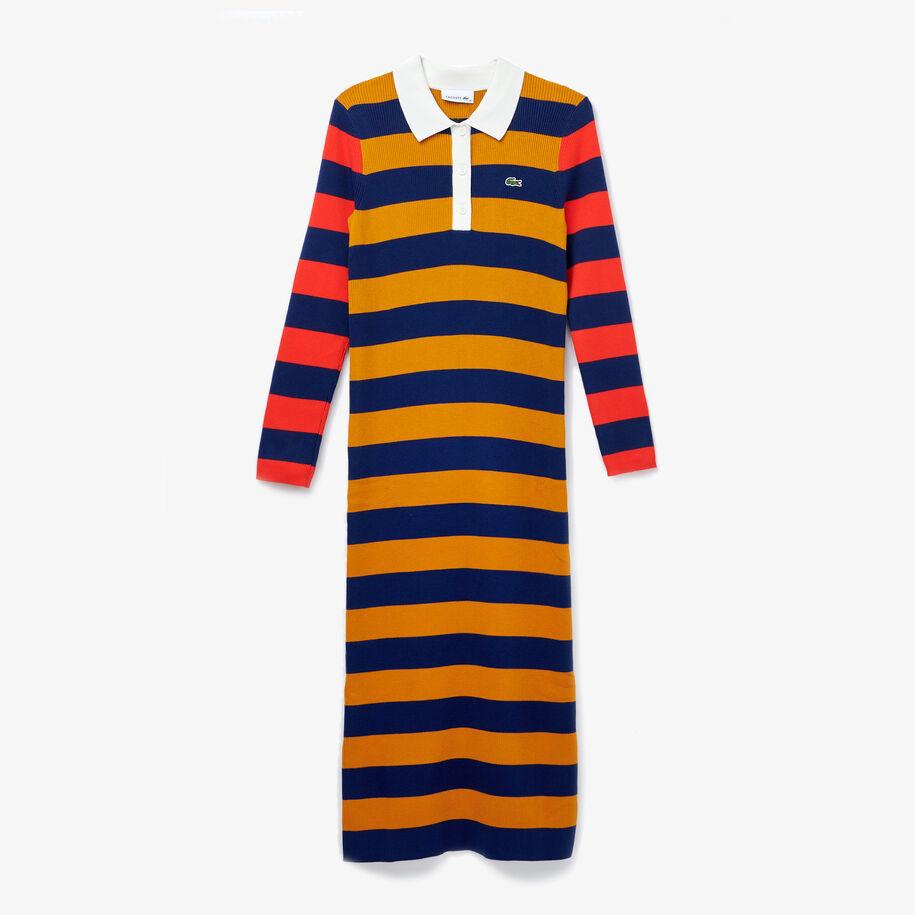 فستان بولو ضيق للنساء متوسط الطول مضلع مخطط