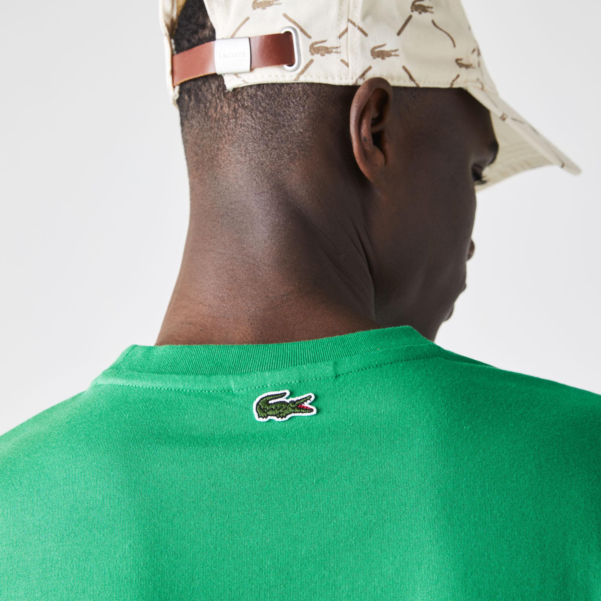 Men's Crew Neck Crackled Logo Print Cotton T-shirt