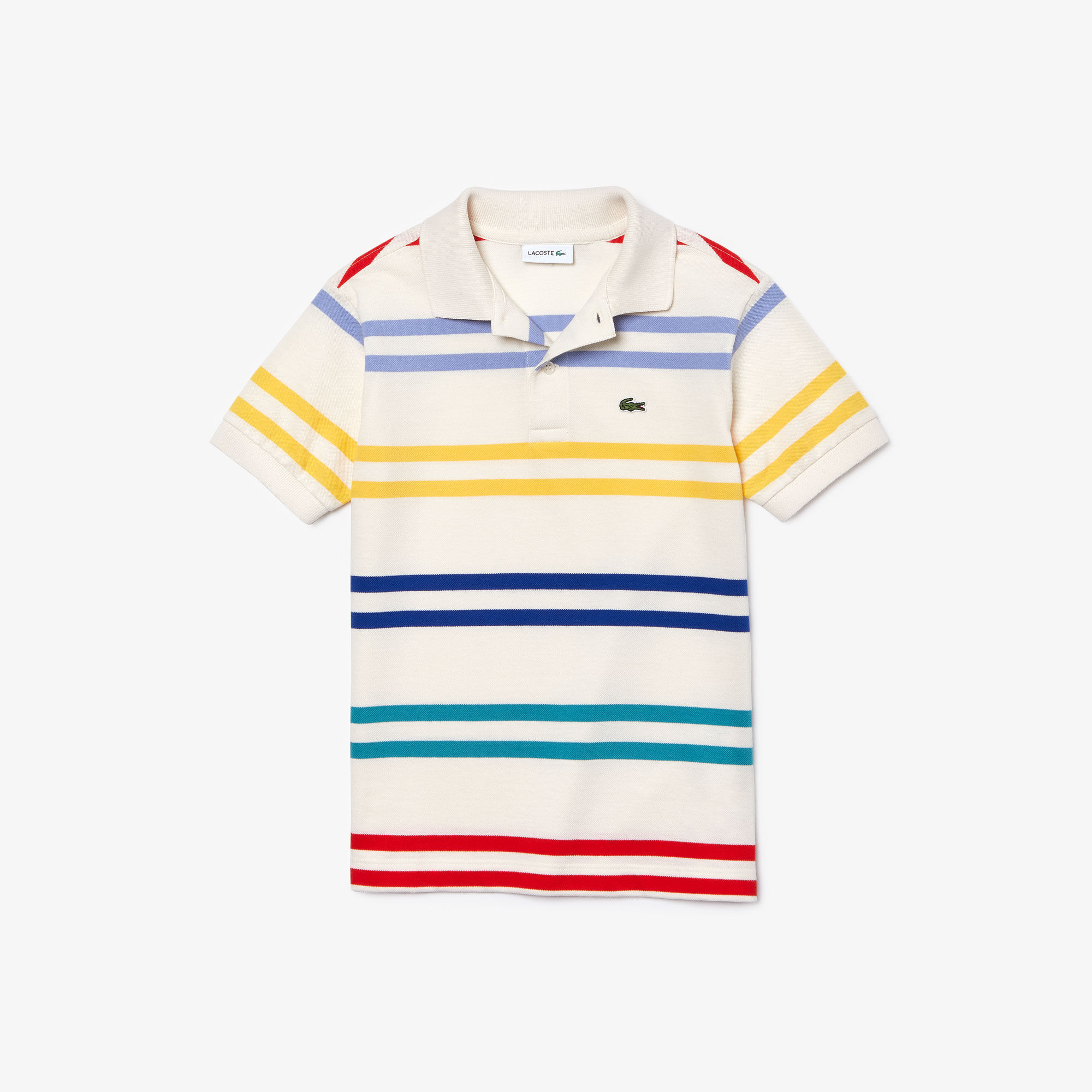 Boy's Striped Coloured Lacoste Polo Shirt