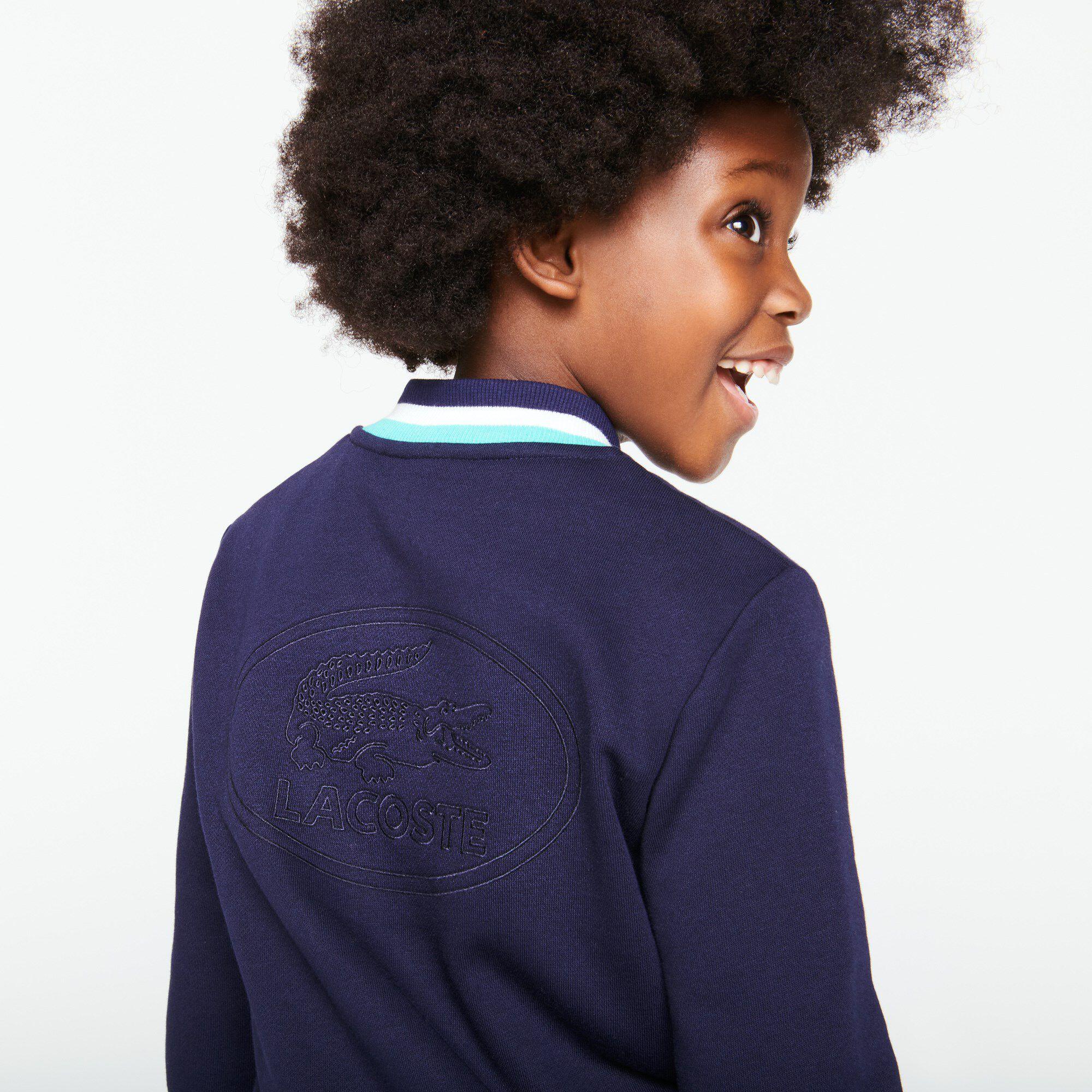 Girls' Striped Accents Zip Fleece Teddy Jacket