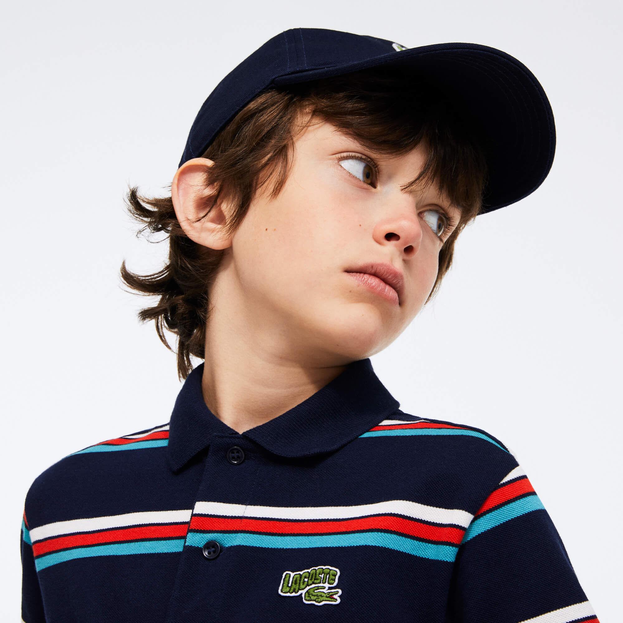 قميص بولو للصبيان مقلم من قطن بيكيه بعلامة Lacoste