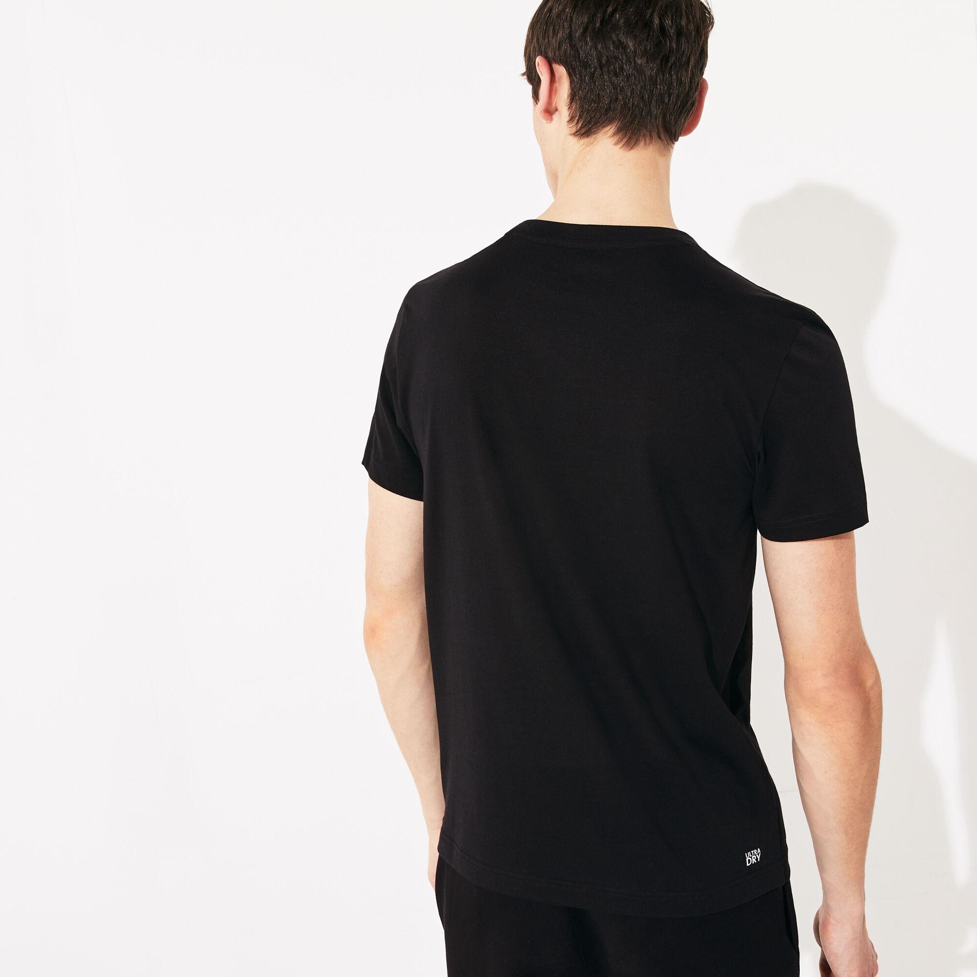 قميص تي - شيرت مسامي مطبوع عليه علامة التمساح من مجموعة Lacoste SPORT للرجال