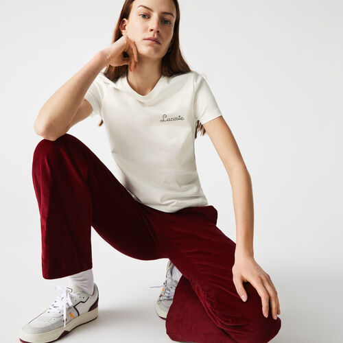 Women's Crew Neck Embroidered Lettering Cotton T-shirt