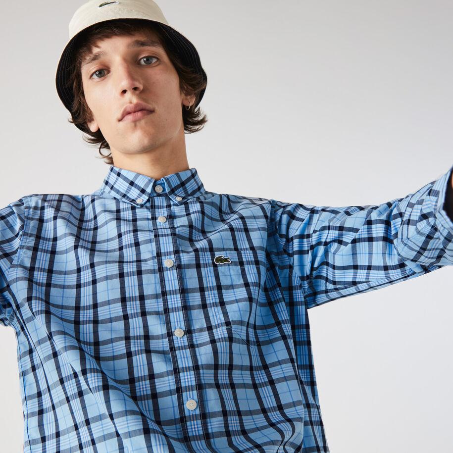 قميص قطن بوبلين كاروهات للرجال قصة عادية