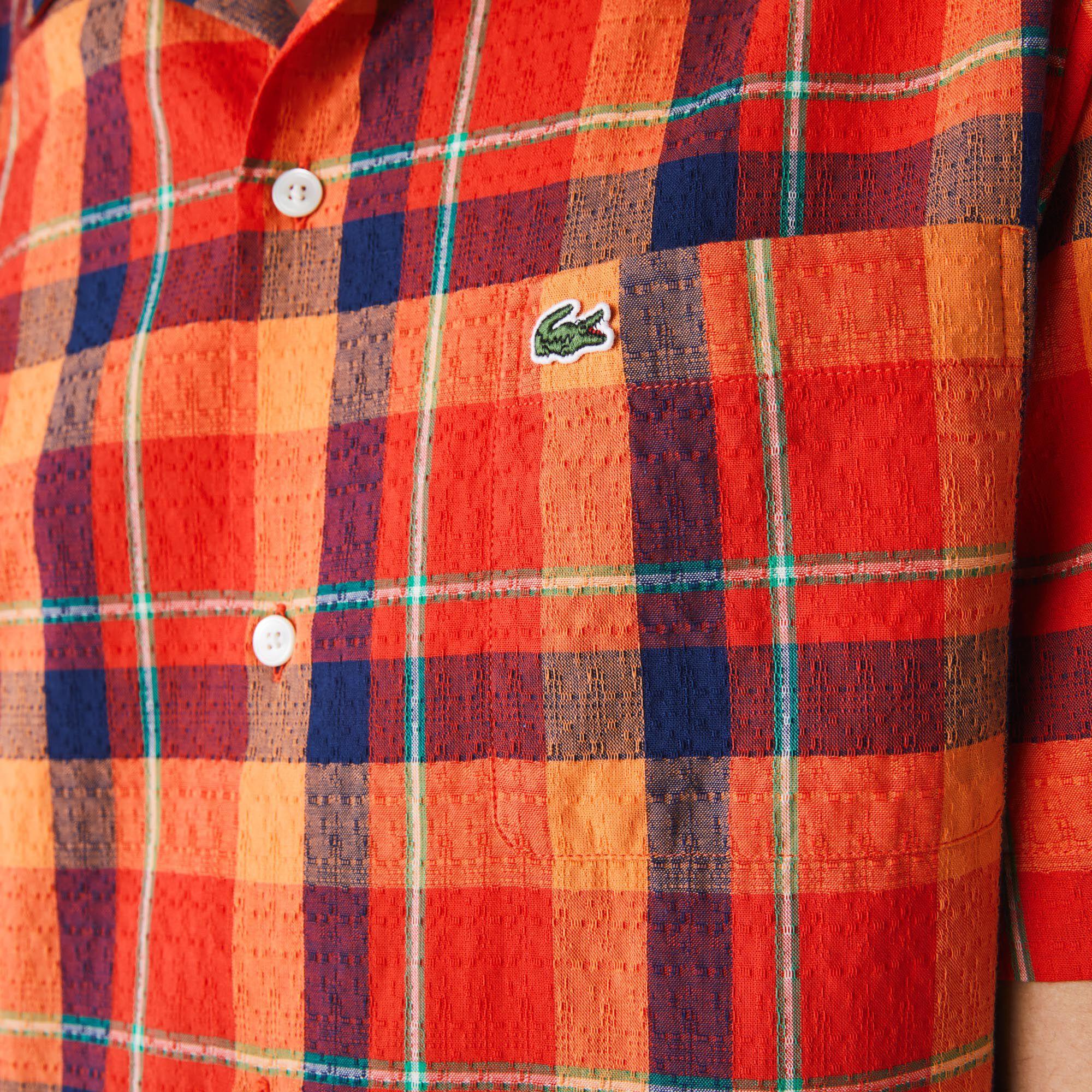 Men's Hawaii Fit Check Cotton Fabric Shirt