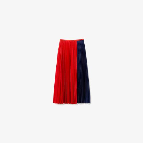 Women's Mid-length Colourblock Pleated Skirt