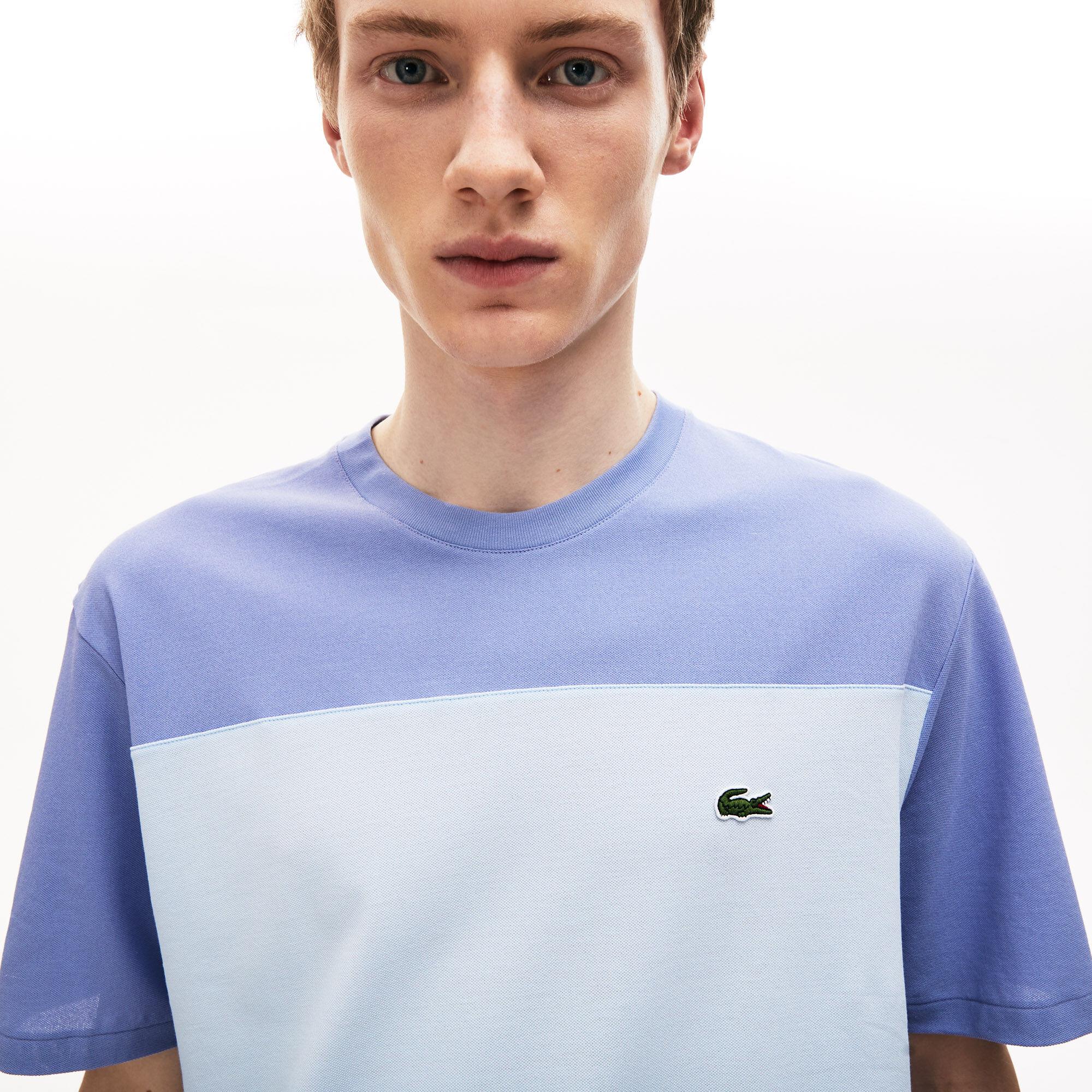 قميص تي-شيرت قطن بيكيه مقلم مزود بفتحة رقبة مستديرة من مجموعة  Colourblock للرجال