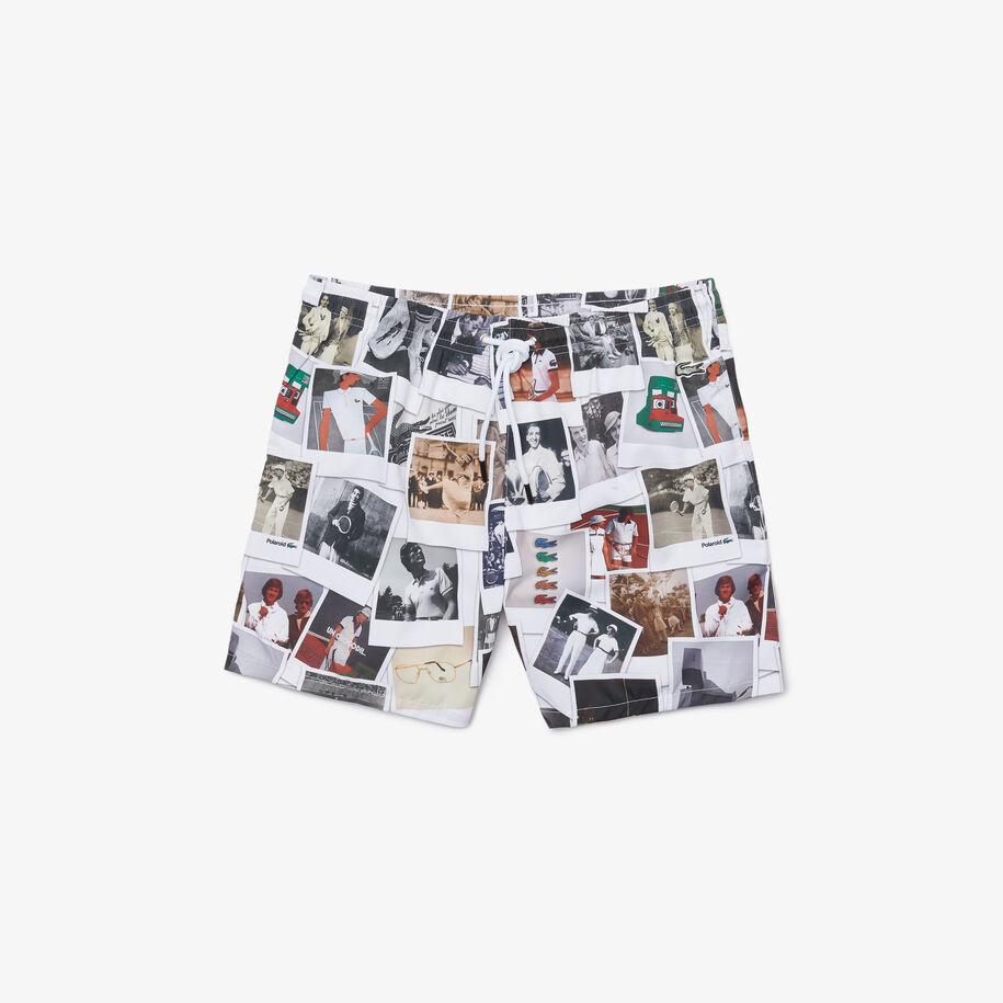 Unisex Lacoste LIVE Polaroid Collaboration Print Swimming Trunks