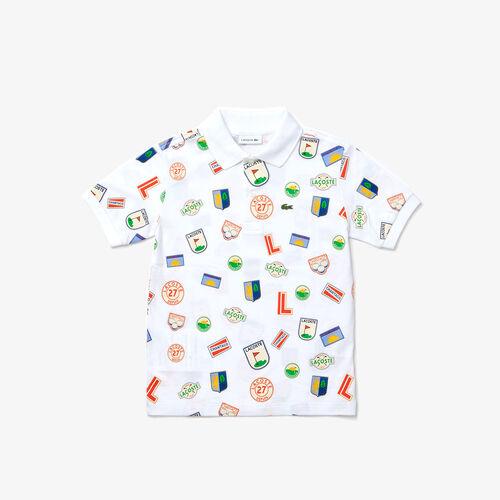Boys' Lacoste Badge Prints Cotton Piqué Polo