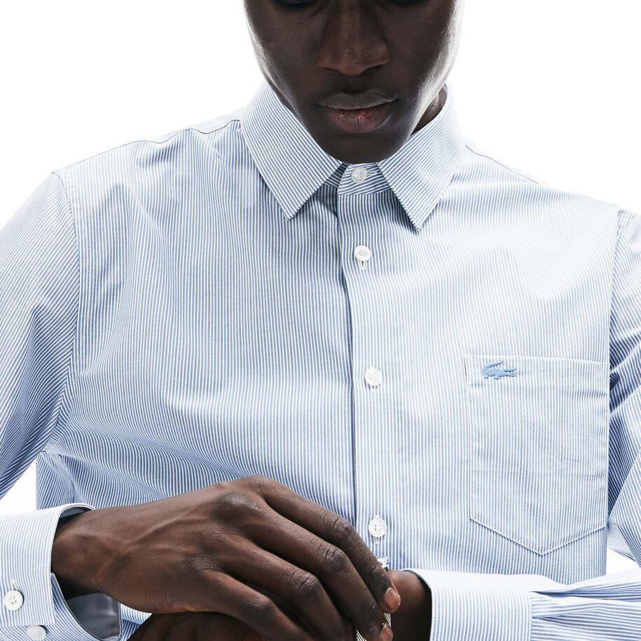 قميص رجالي من قطن البوبلين بقصة عادية وخطوط طولية
