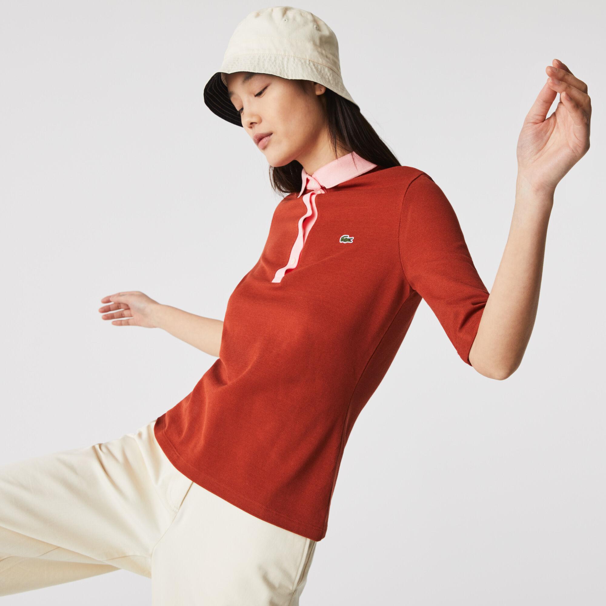 قميص بولو قطني للنساء قصة ضيقة