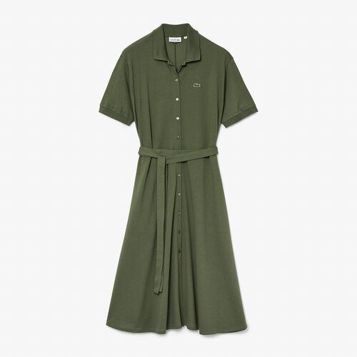 Women's Cotton Piqué Belted Polo Dress