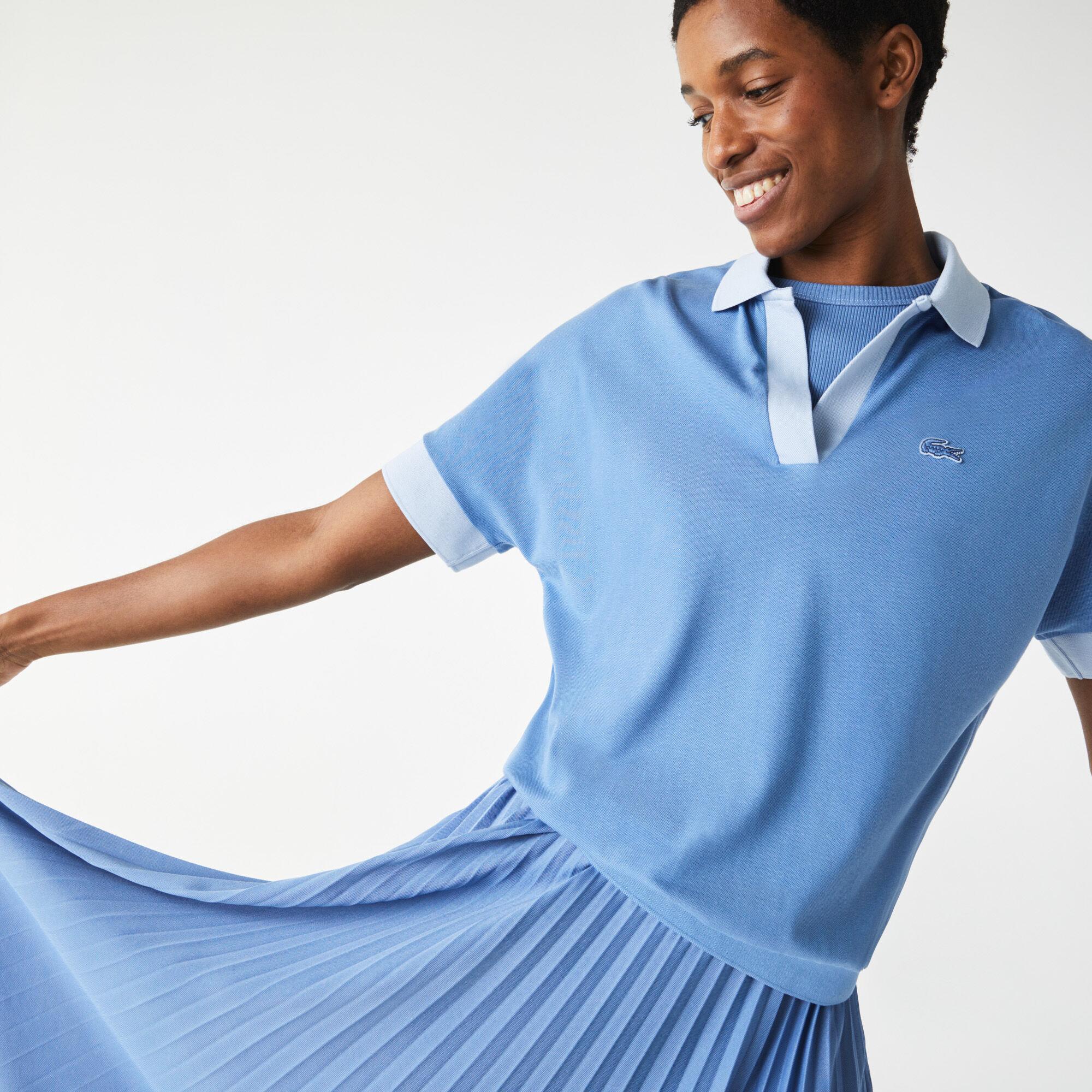 قميص بولو بيكيه انسيابي للنساء بقصة فضفاضة وياقة واسعة
