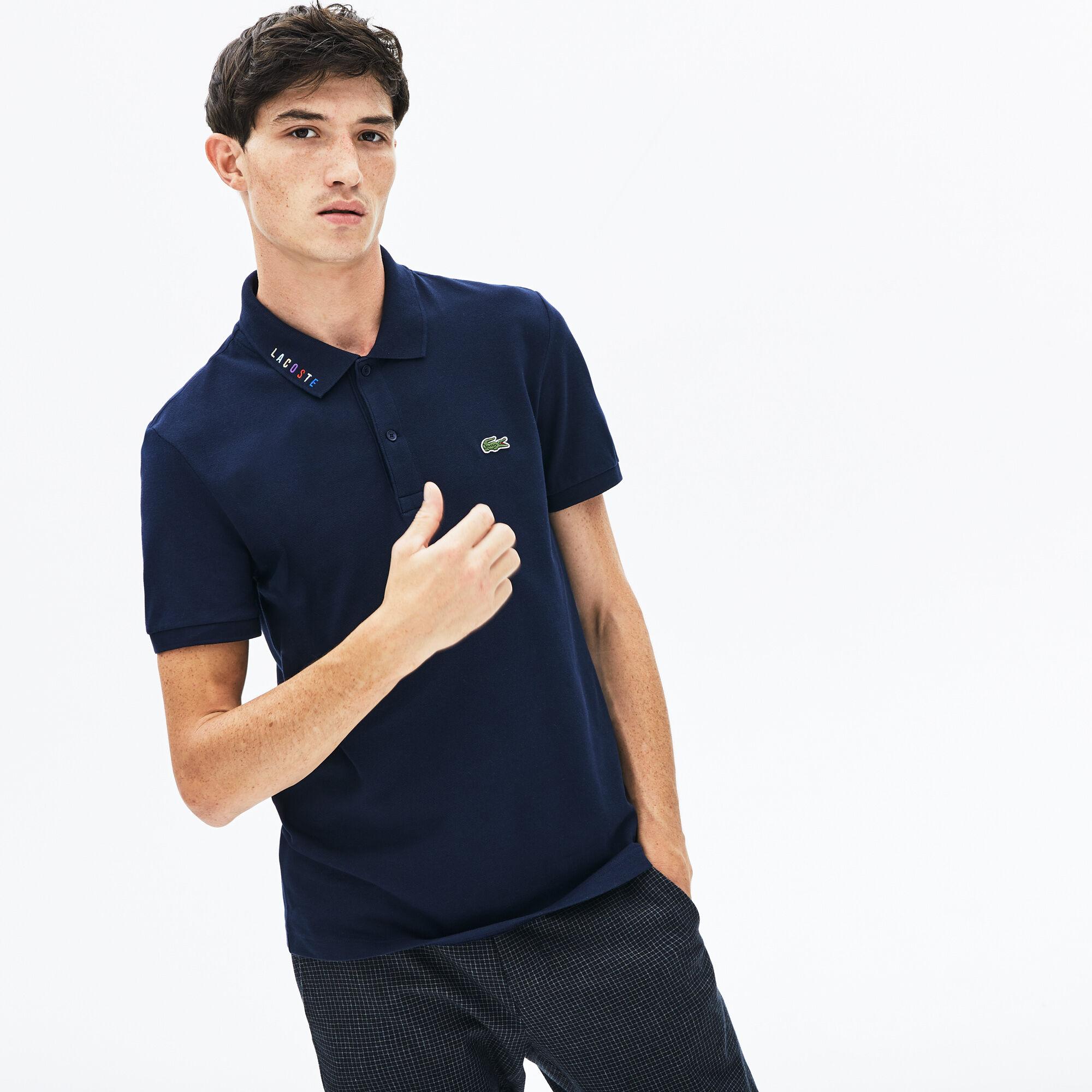 Men's Lacoste Slim Fit Multicoloured Signature Stretch Piqué Polo Shirt