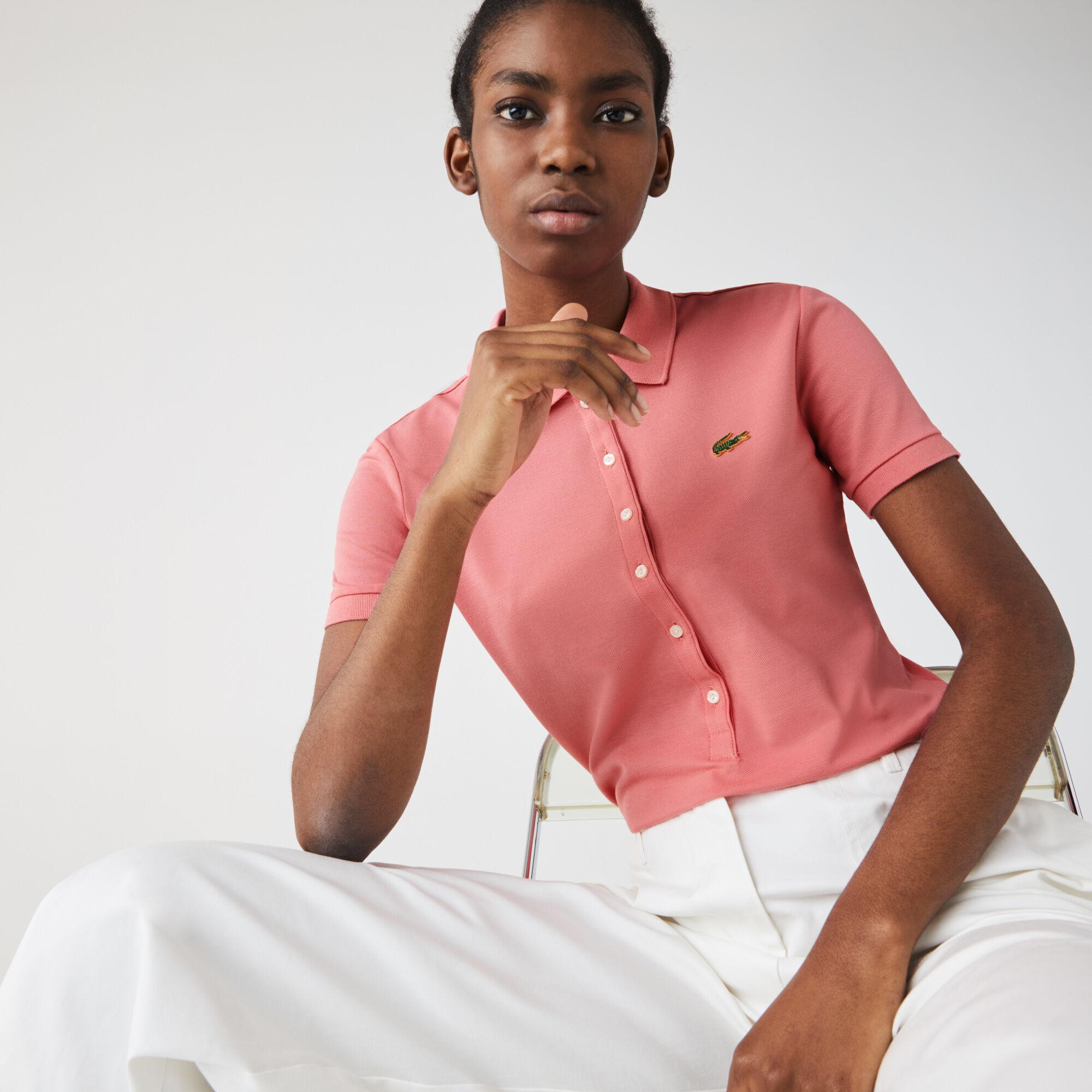 قميص بولو من بيكيه القطن المرن قصة ضيقة مجموعة Lacoste LIVE للنساء