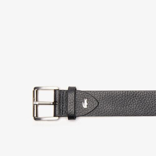 Men's Lacoste Engraved Rolling Buckle Grained Leather Belt
