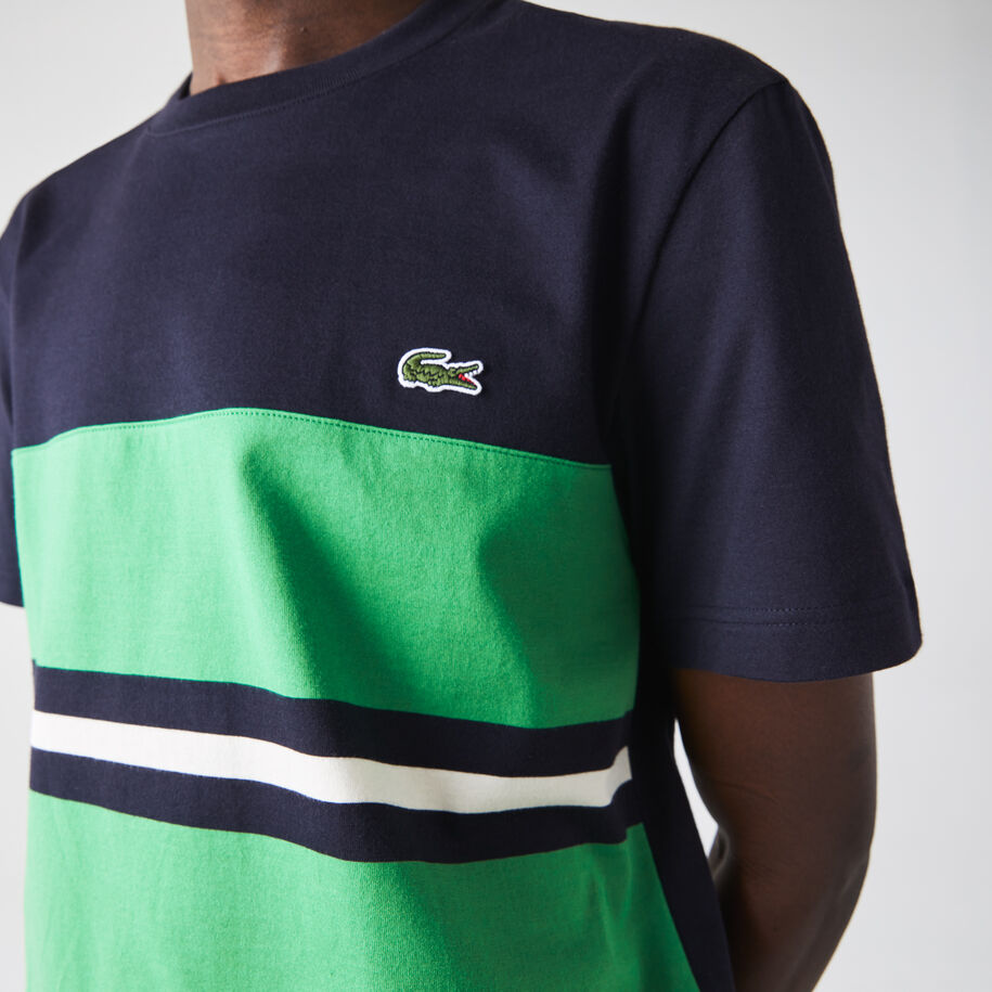 Men's Crew Neck Colorblock Striped Cotton T-shirt