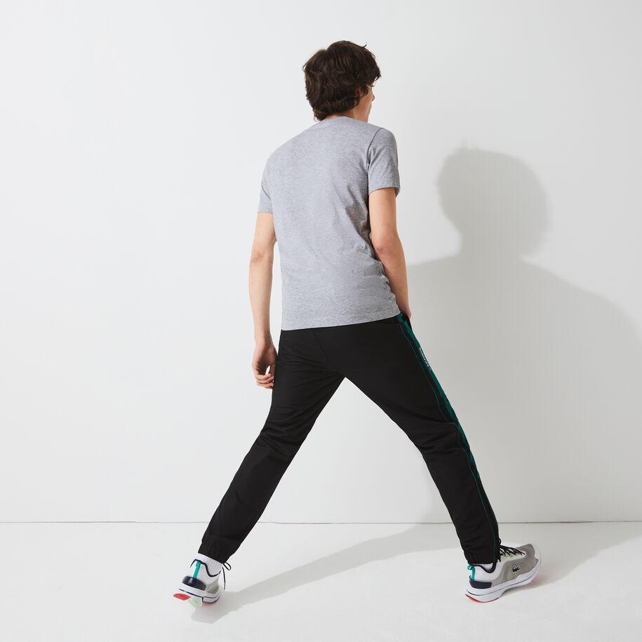 تي شيرت مسامي للرجال مع طباعة ثلاثية الأبعاد مجموعة Lacoste SPORT