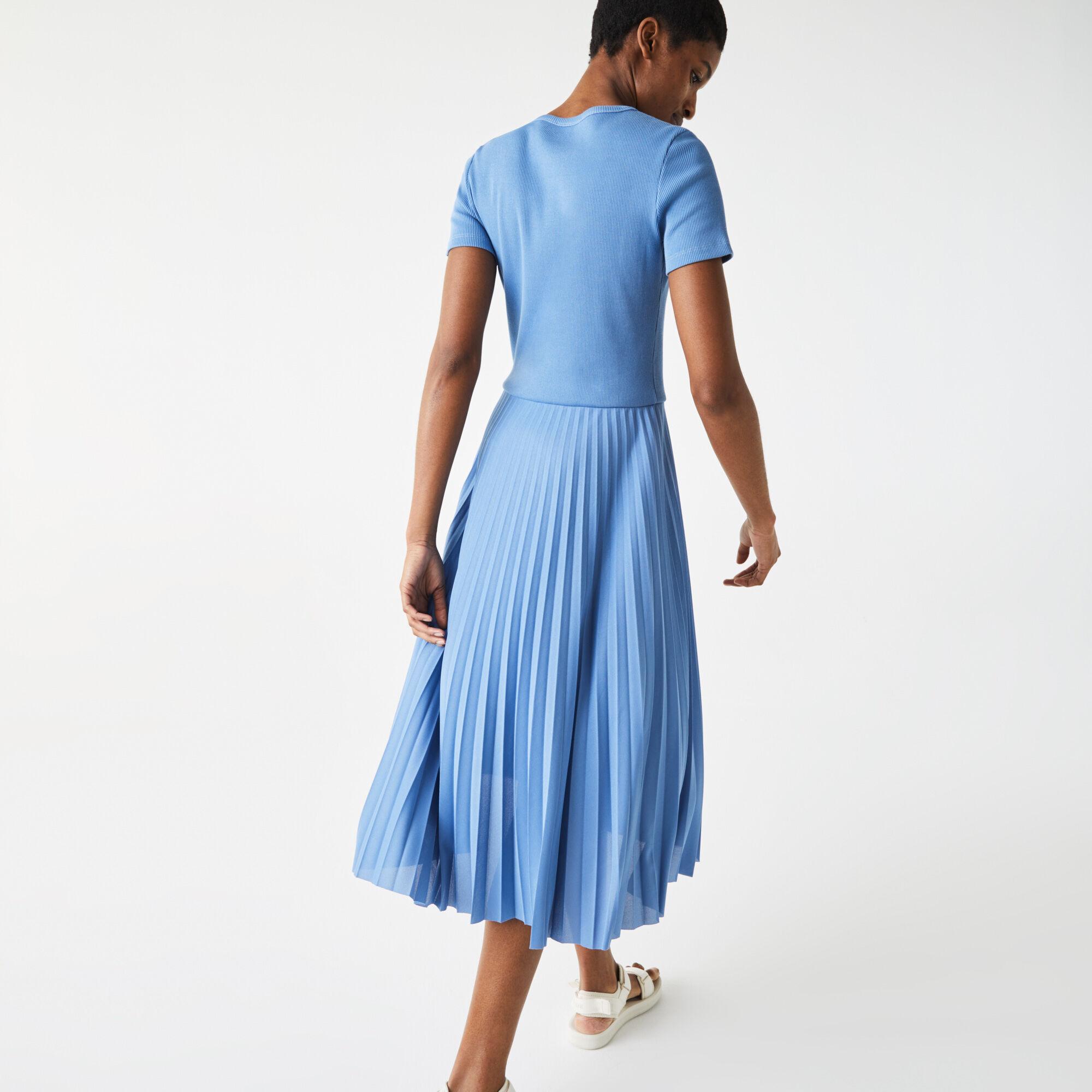 فستان بطيات متعرج الملمس متوسط الطول للنساء