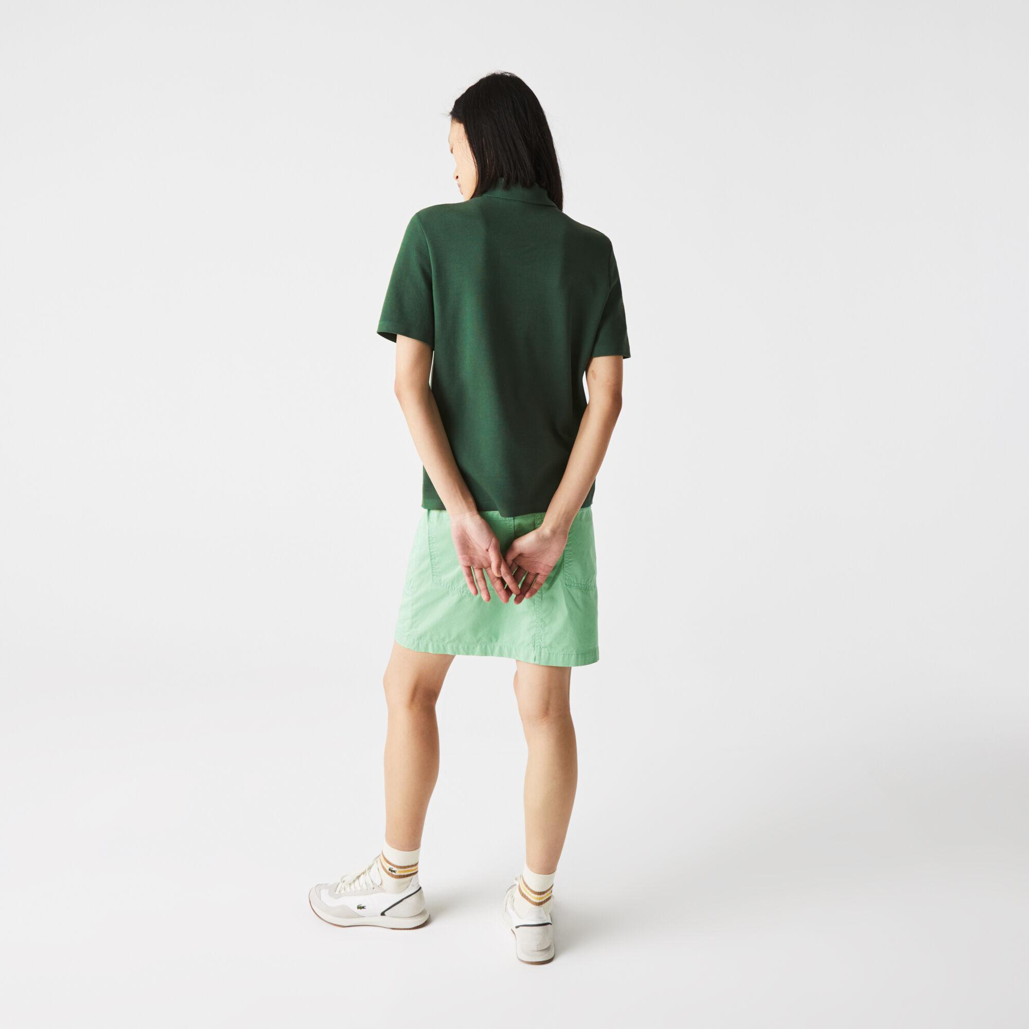 قميص بولو مقلم للنساء قصة عادية من القطن العضوي
