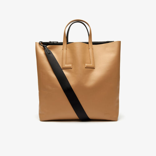 Women's Fashion Show Two-tone Leather Double Tote