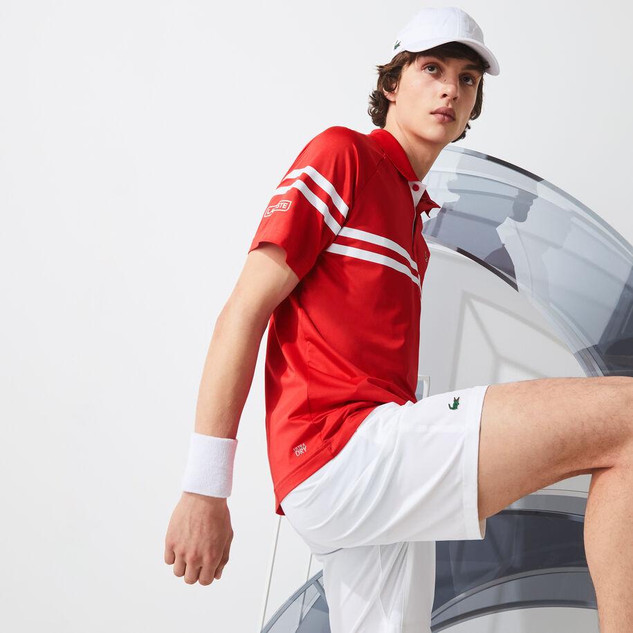 Men's Lacoste SPORT x Novak Djokovic Ultra-Light Striped Polo Shirt