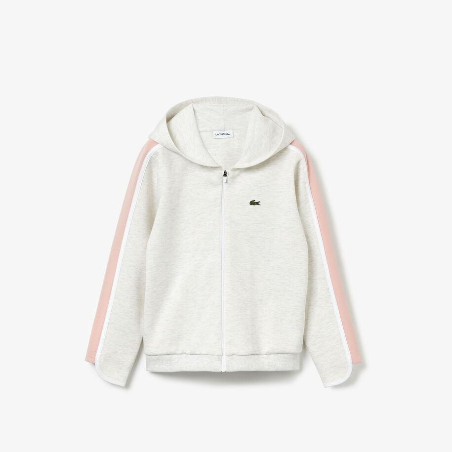 Girl's Cotton Blend Hooded Zip Sweatshirt
