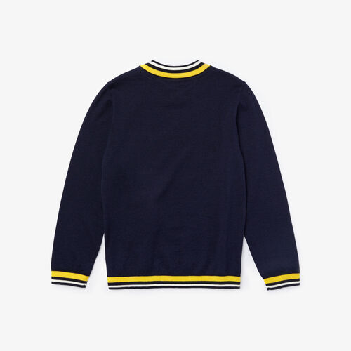 Boys' Striped Details Wool And Cotton Sweater
