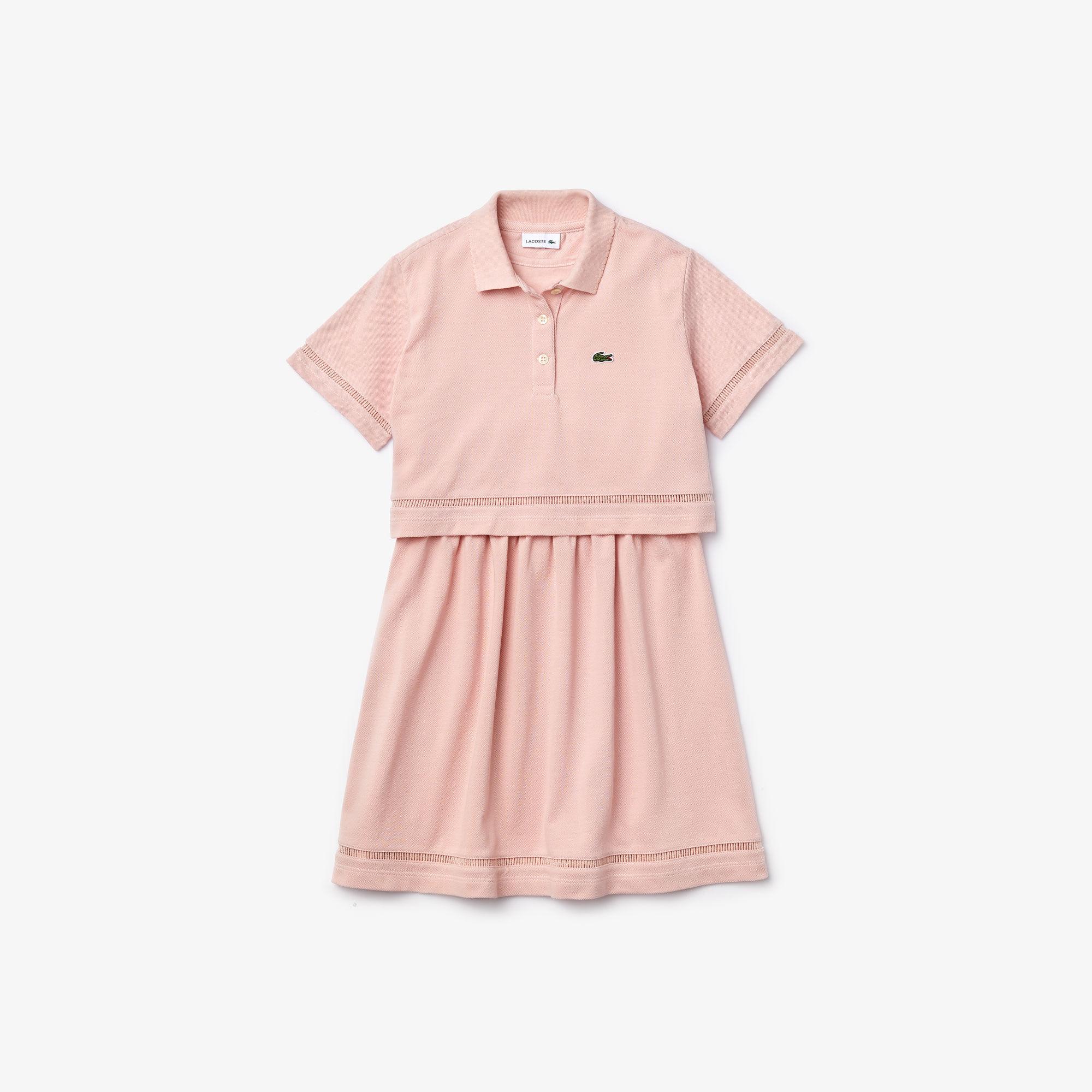 فستان بتصميم بولو للبنات محيك بأسلوب الترمبلوي