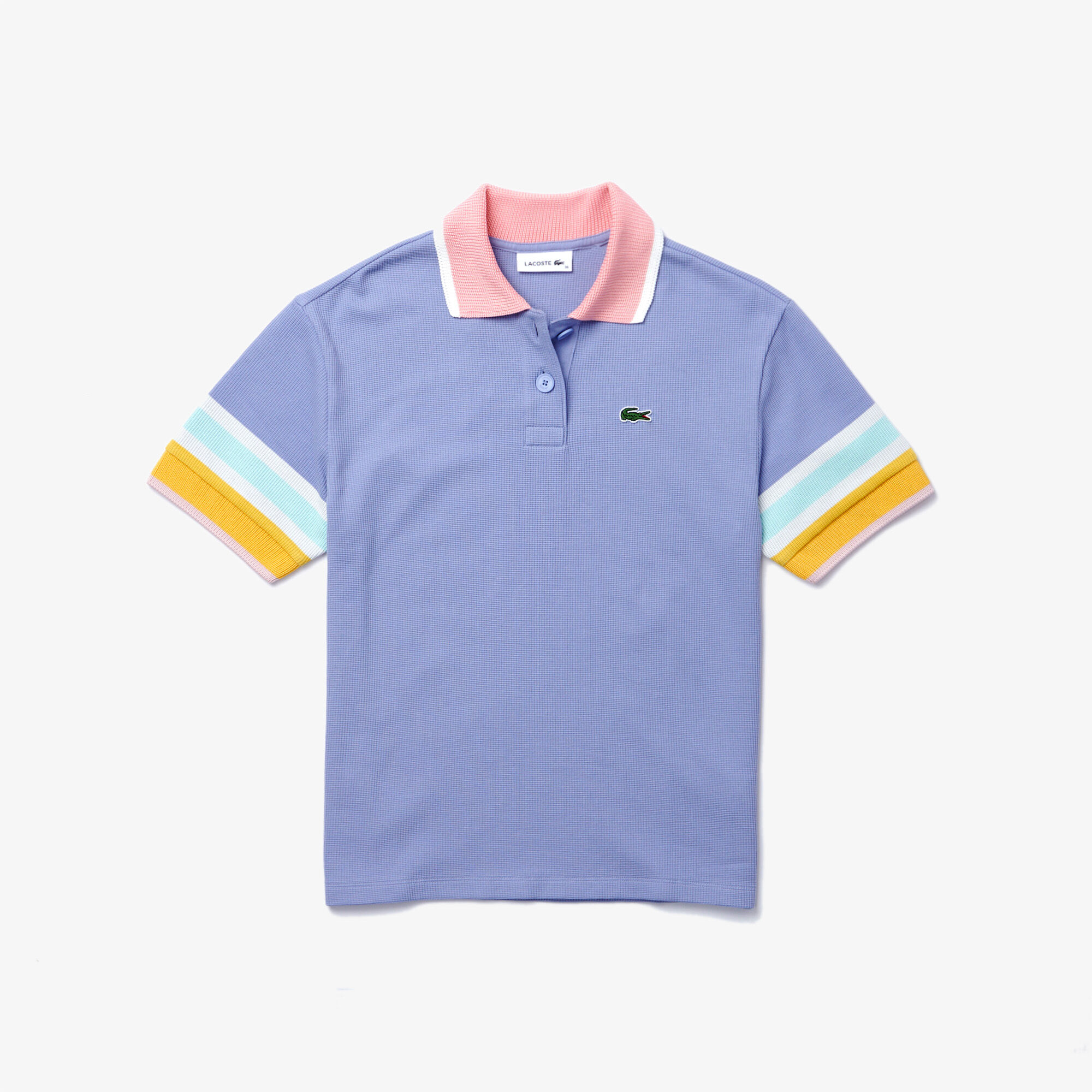 Women's Lacoste Striped Sleeve Textured Cotton Polo Shirt