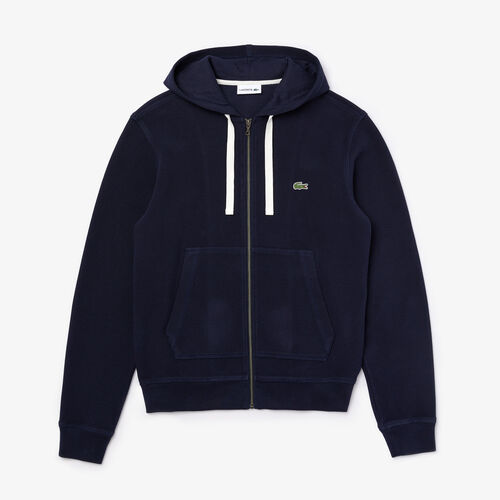 Men's Zip Hooded Organic Cotton Piqué Sweatshirt