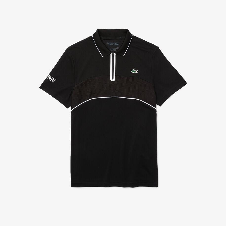 قميص بولو بسحاب للتنس للرجال من البيكيه المسامي المقاوم مجموعة Lacoste SPORT