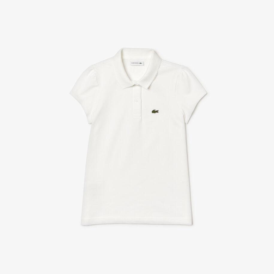 قميص بولو من الميني بيكيه مع ياقة مزدانة بحافة مدورة النتوءات للبنات