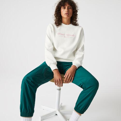 Women's Loose Fit Crew Neck Embroidered Fleece Sweatshirt