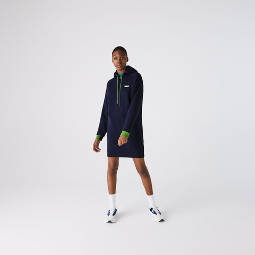 Women's Lacoste Sport Hooded Cotton Blend Sweatshirt Dress
